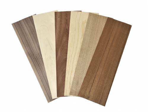 Bundle of 6 popular wood veneer species.